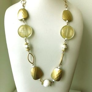 """Chunky Art glass gold tone Chico's necklace 22"""" l"""